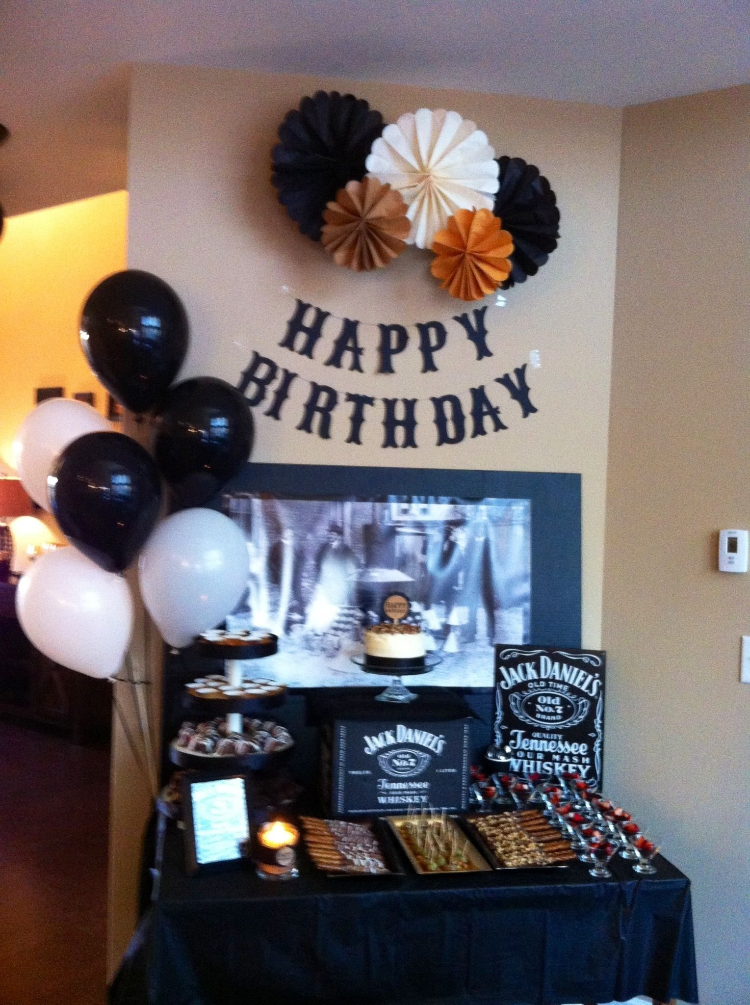 jack daniels theme for dad's surprise 60th bday party! | whiskey