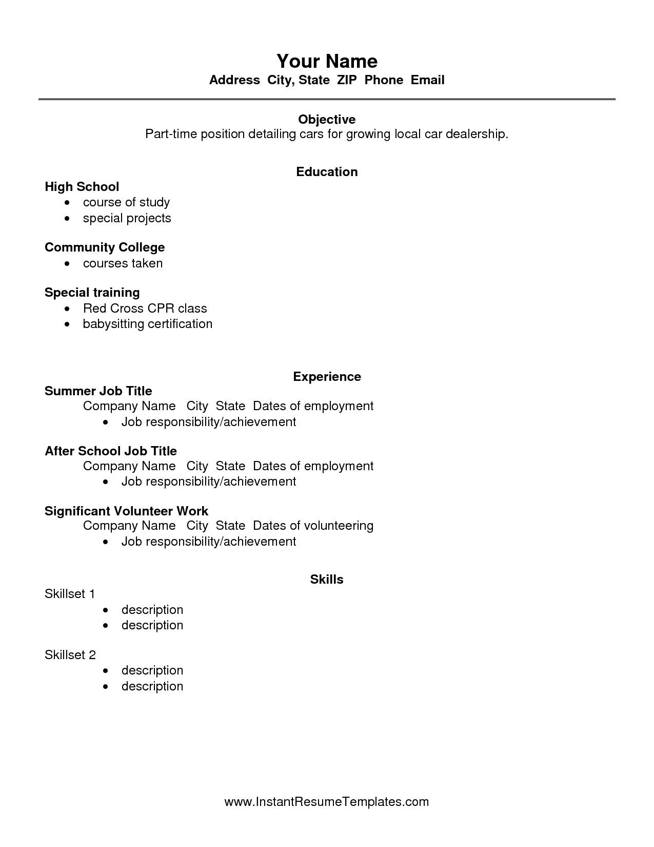 job resumes for high school students brilliant ideas of resumes for