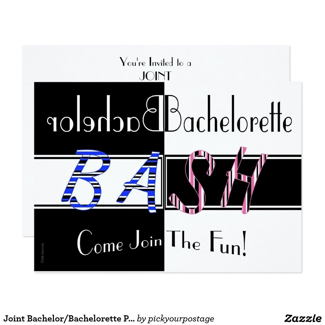 joint bachelor/bachelorette party bash invitation | bachelorette
