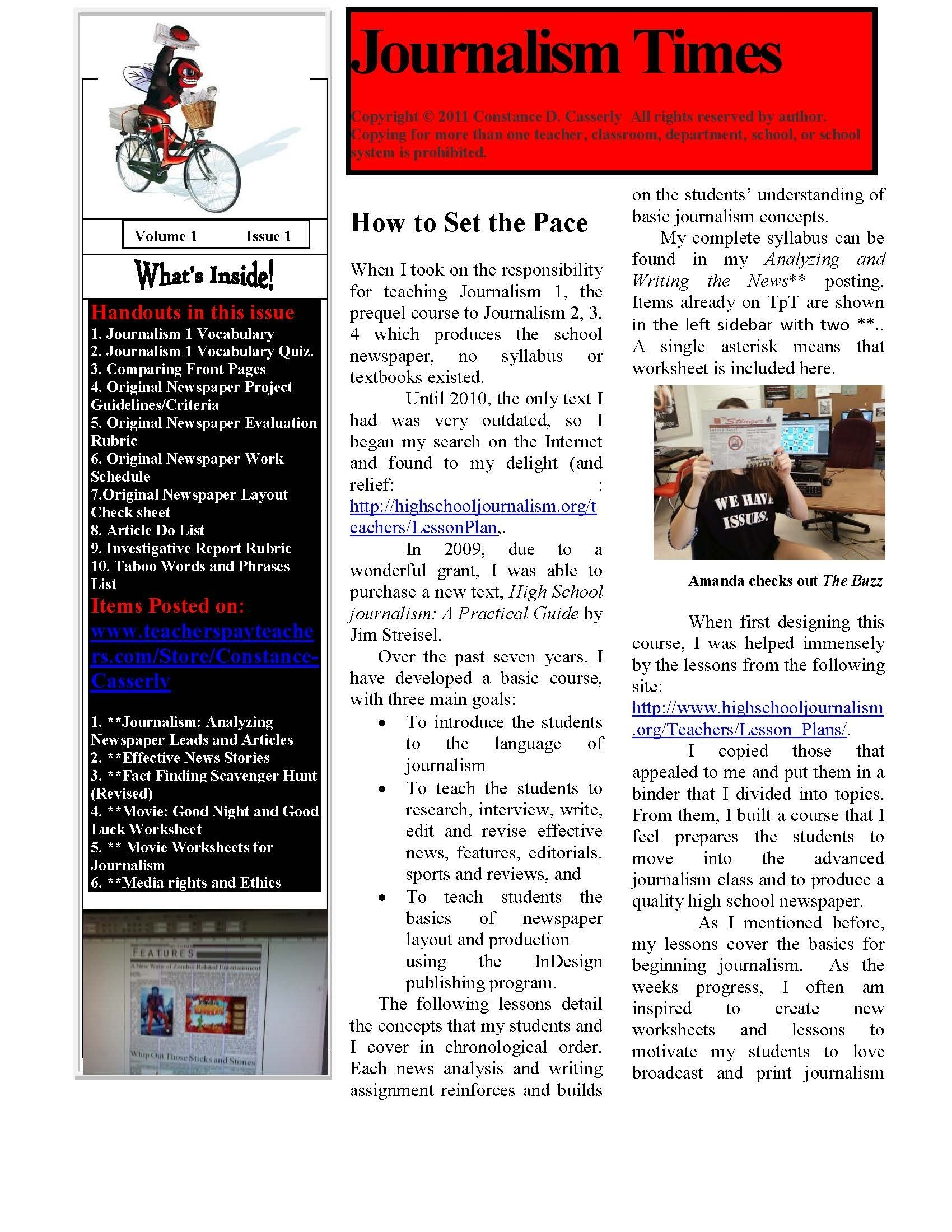 10 Attractive Middle School Newspaper Article Ideas journalism whole course year overview and lesson ideas school 2021