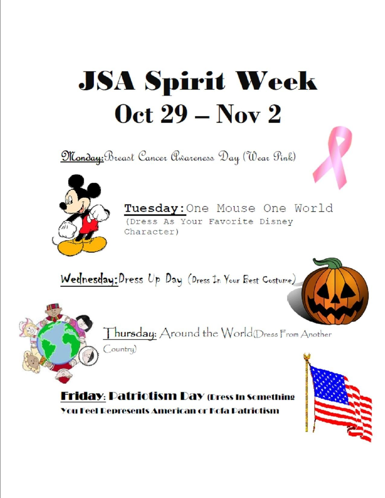 jsa spirit week extra credit | mr. goodwin's us history