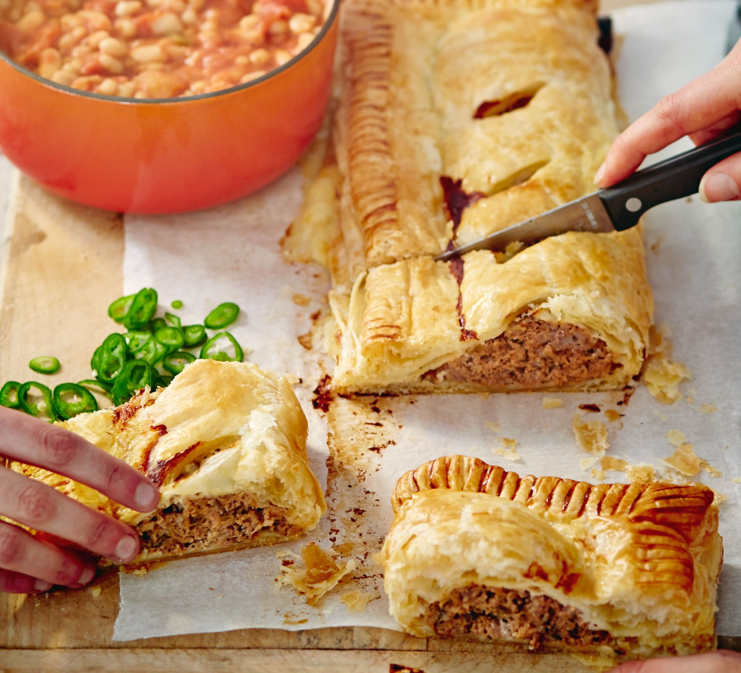 10 Fabulous Dinner Ideas On A Budget jumbo sausage roll with salsa beans recipe bbc good food 1 2021
