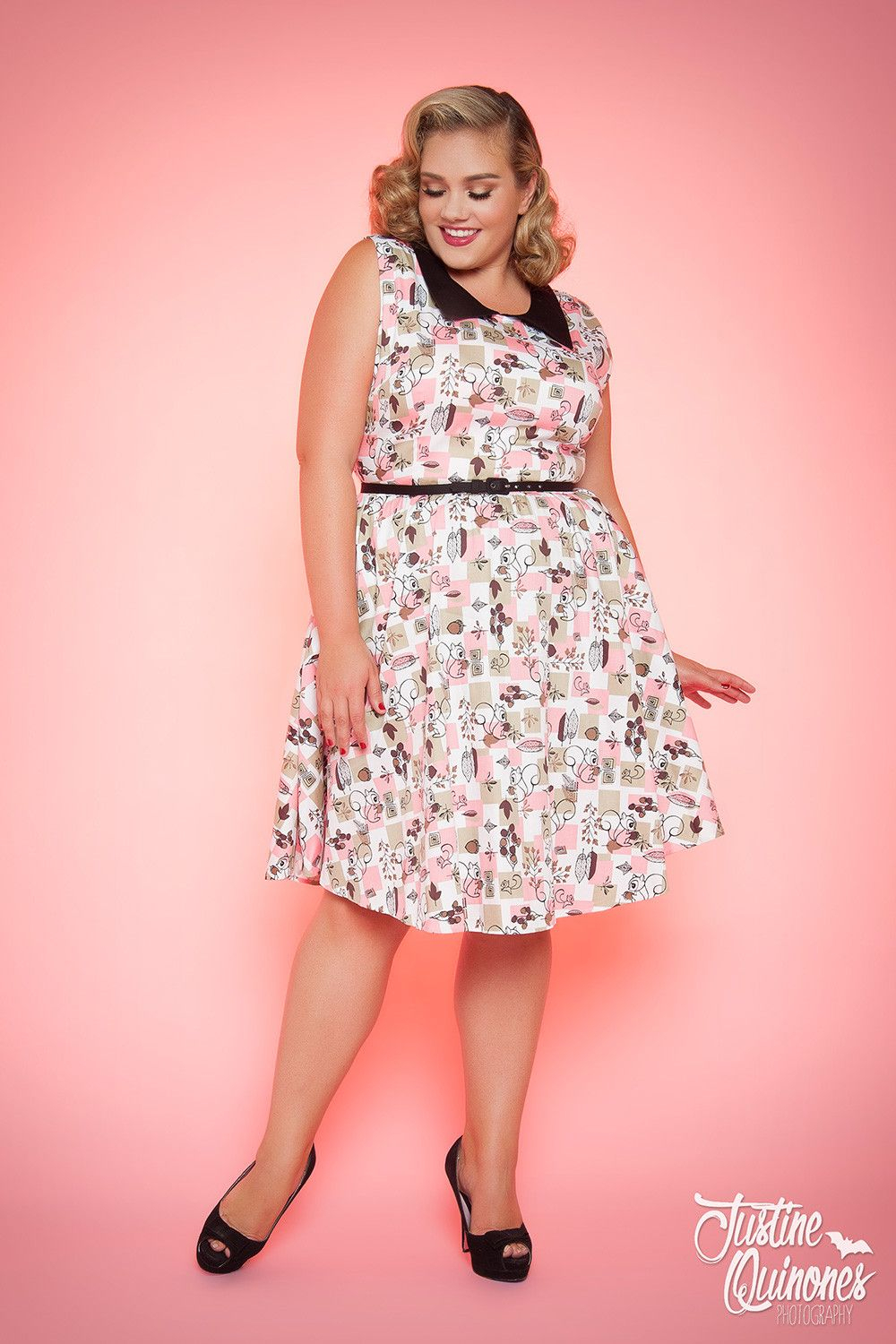 10 Pretty Pin Up Girl Clothing Ideas junebugs dress in squirrel print plus size pinup girl clothing