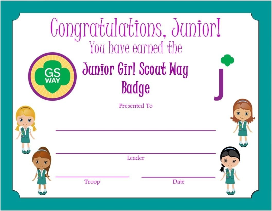 10 Fashionable Girl Scout Way Badge Ideas junior girl scout way badge certificate junior girl scouts 1 2020
