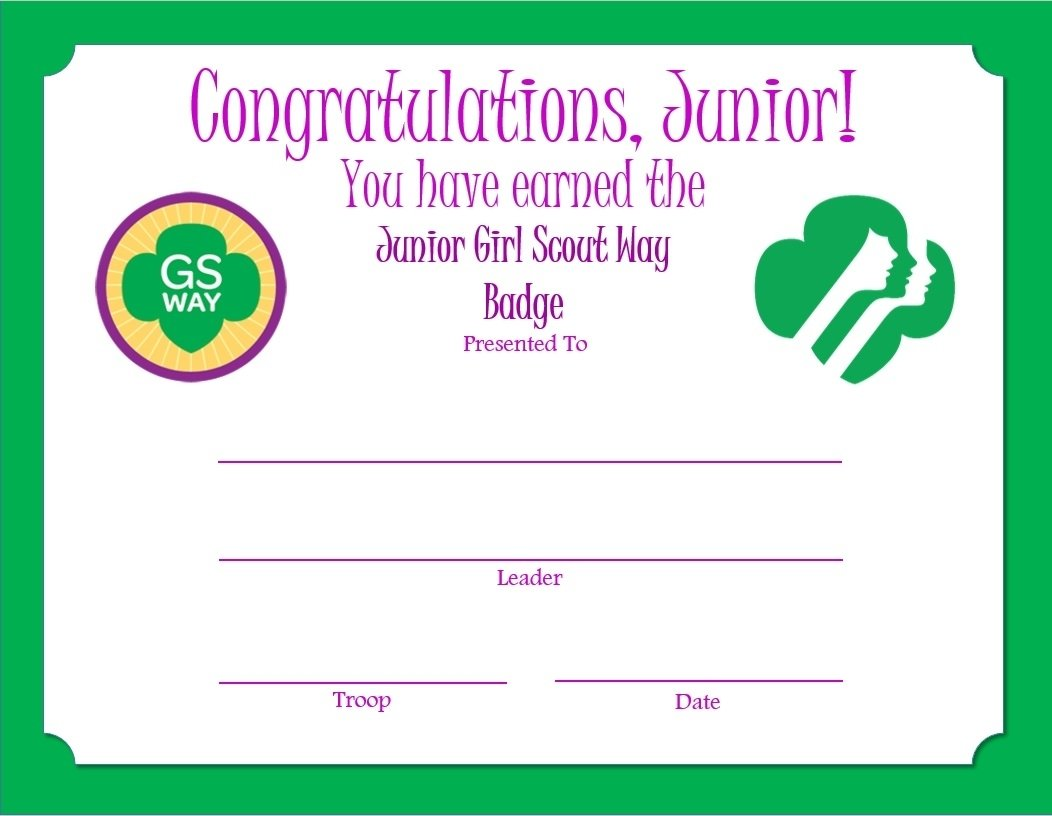 10 Fashionable Girl Scout Way Badge Ideas junior girl scout way badge certificate junior girl scouts 2020