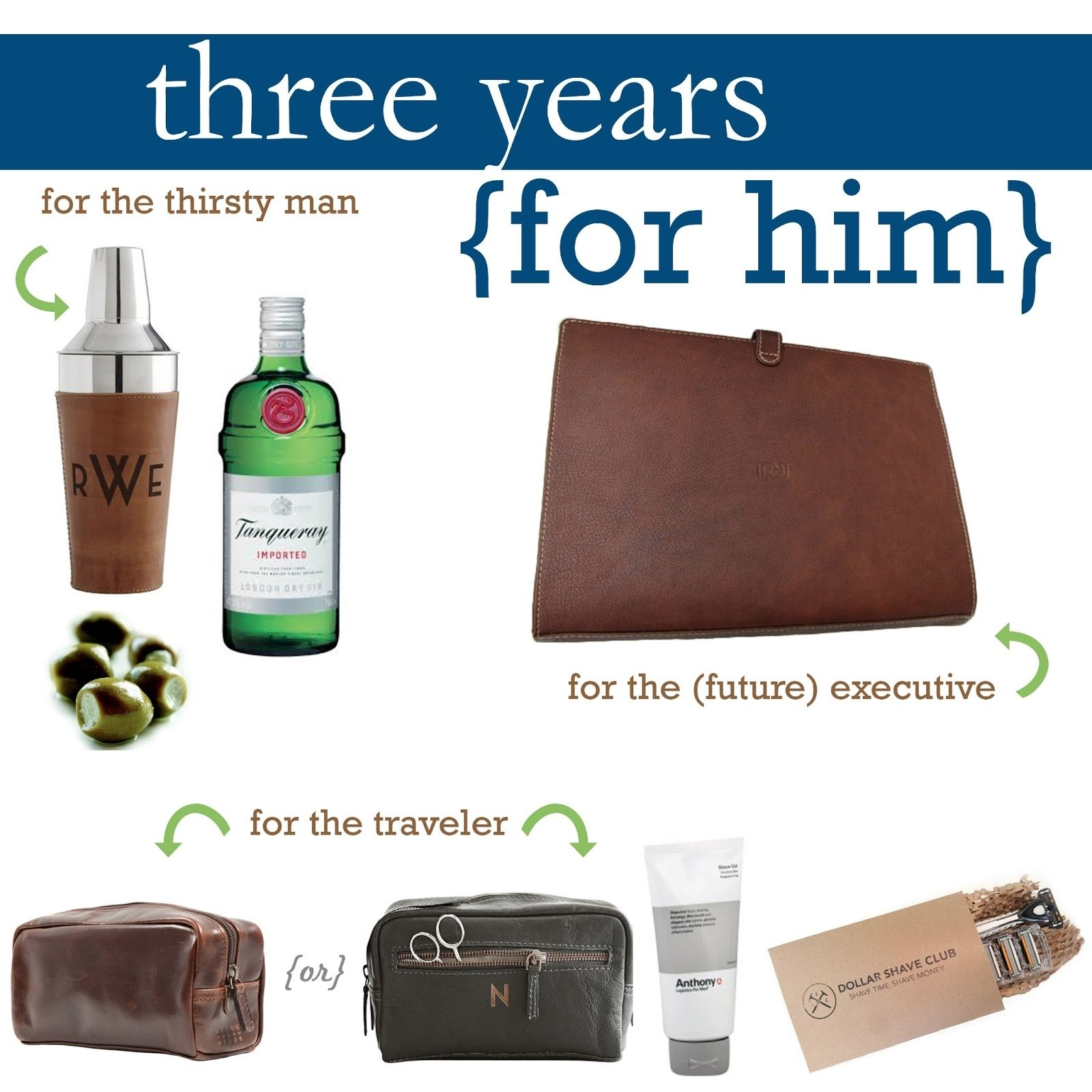 just off square: leather gift guide: three year anniversary