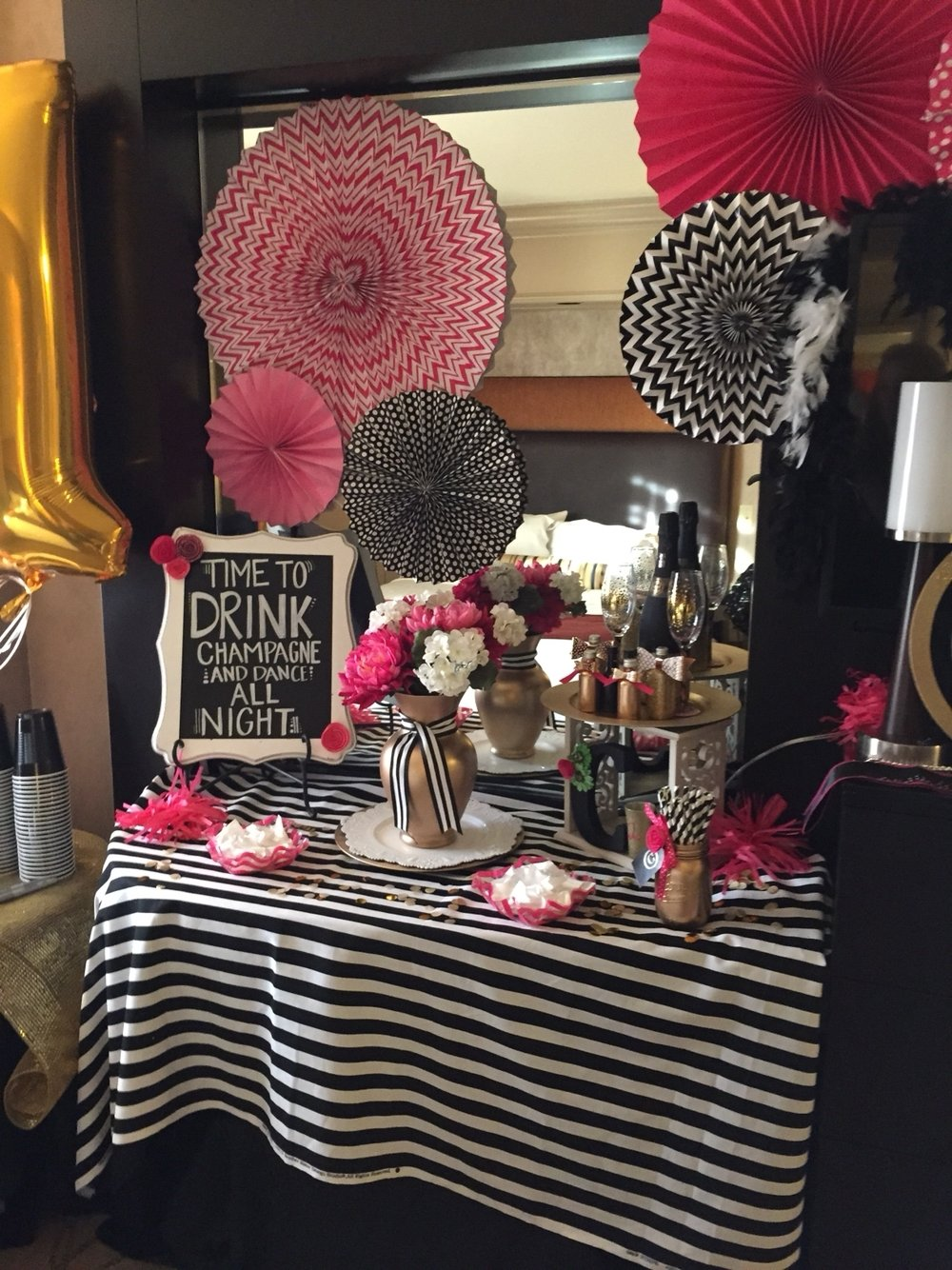 10 Attractive Hotel Party Ideas For Adults kate spade inspired 21st birthday decorations in vegas hotel room 2020