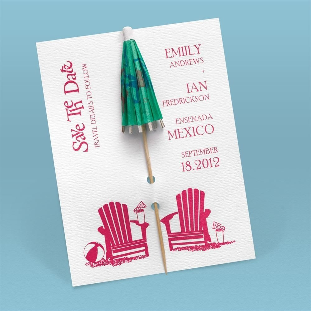 10 Attractive Save The Date Card Ideas kickin back umbrella save the date card invitationsdawn