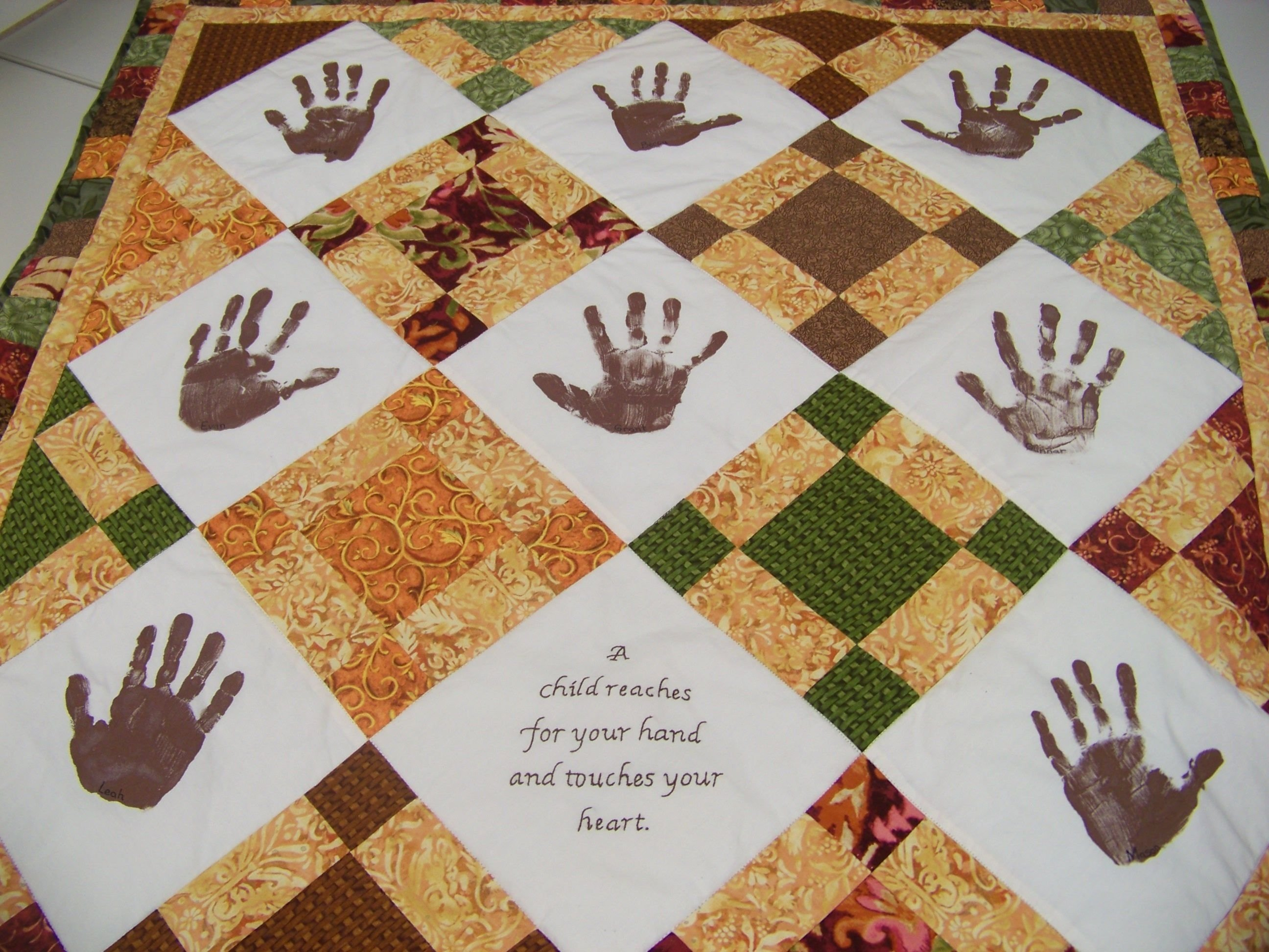 10 Pretty How To Ideas For A Project kindergarten handprint quilt class auction project ideas