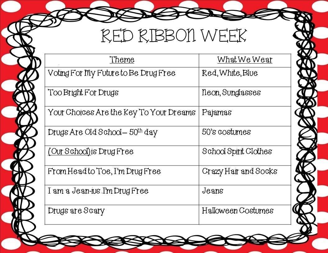 10 Most Recommended Spirit Week Ideas For Elementary School kindergarten korner red ribbon week halloween pinterest red 2020