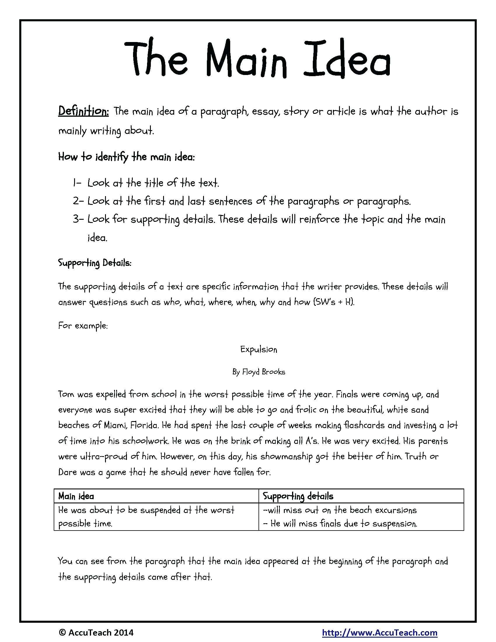 10 Ideal Main Idea And Supporting Details Passages kindergarten worksheet multiple choice main idea worksheets free 16 2020
