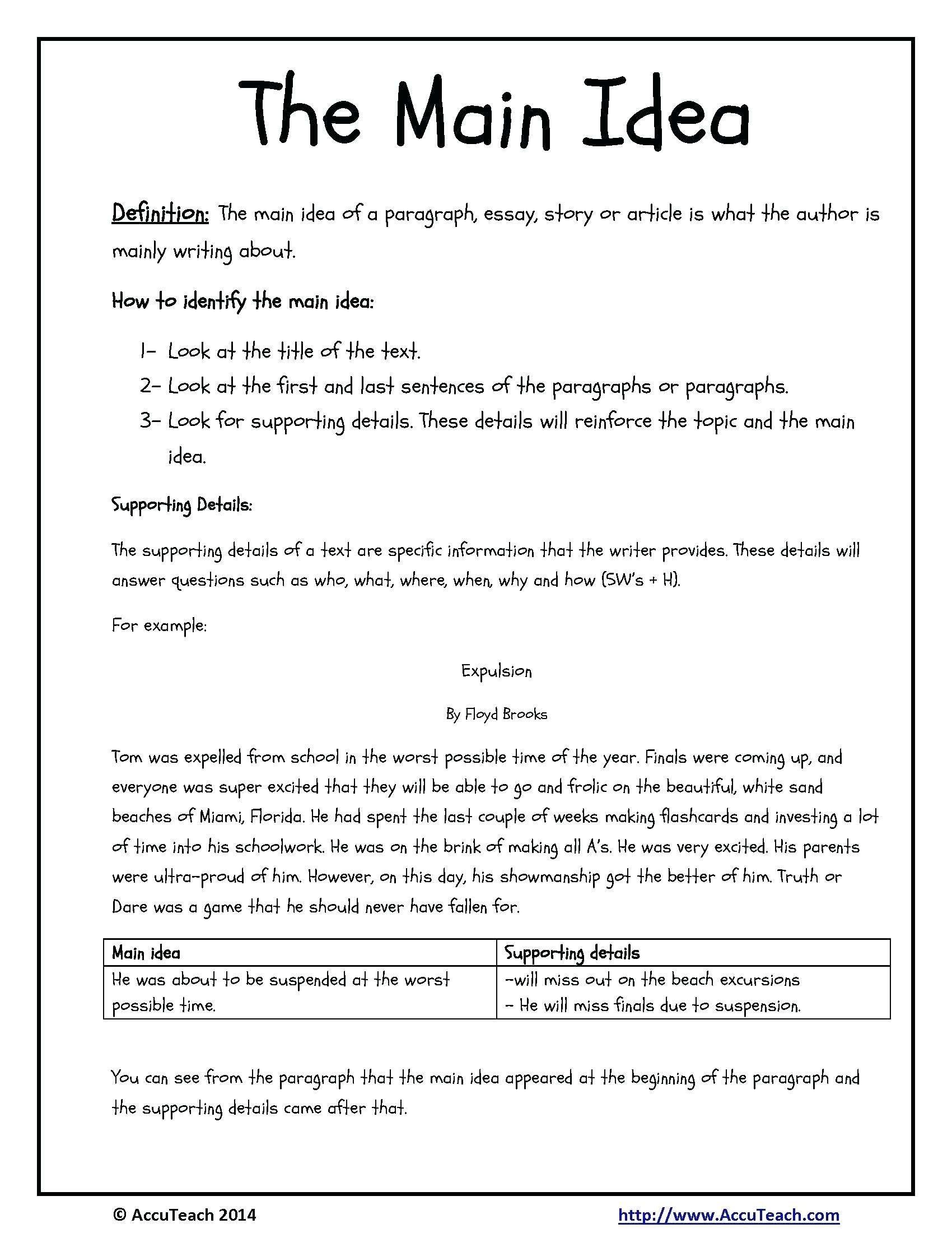 10 Cute Main Idea Worksheets Third Grade 2021