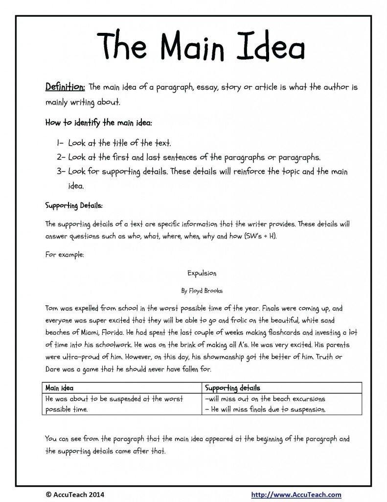 10 Lovable Main Idea Multiple Choice Worksheets kindergarten worksheet multiple choice main idea worksheets free 2