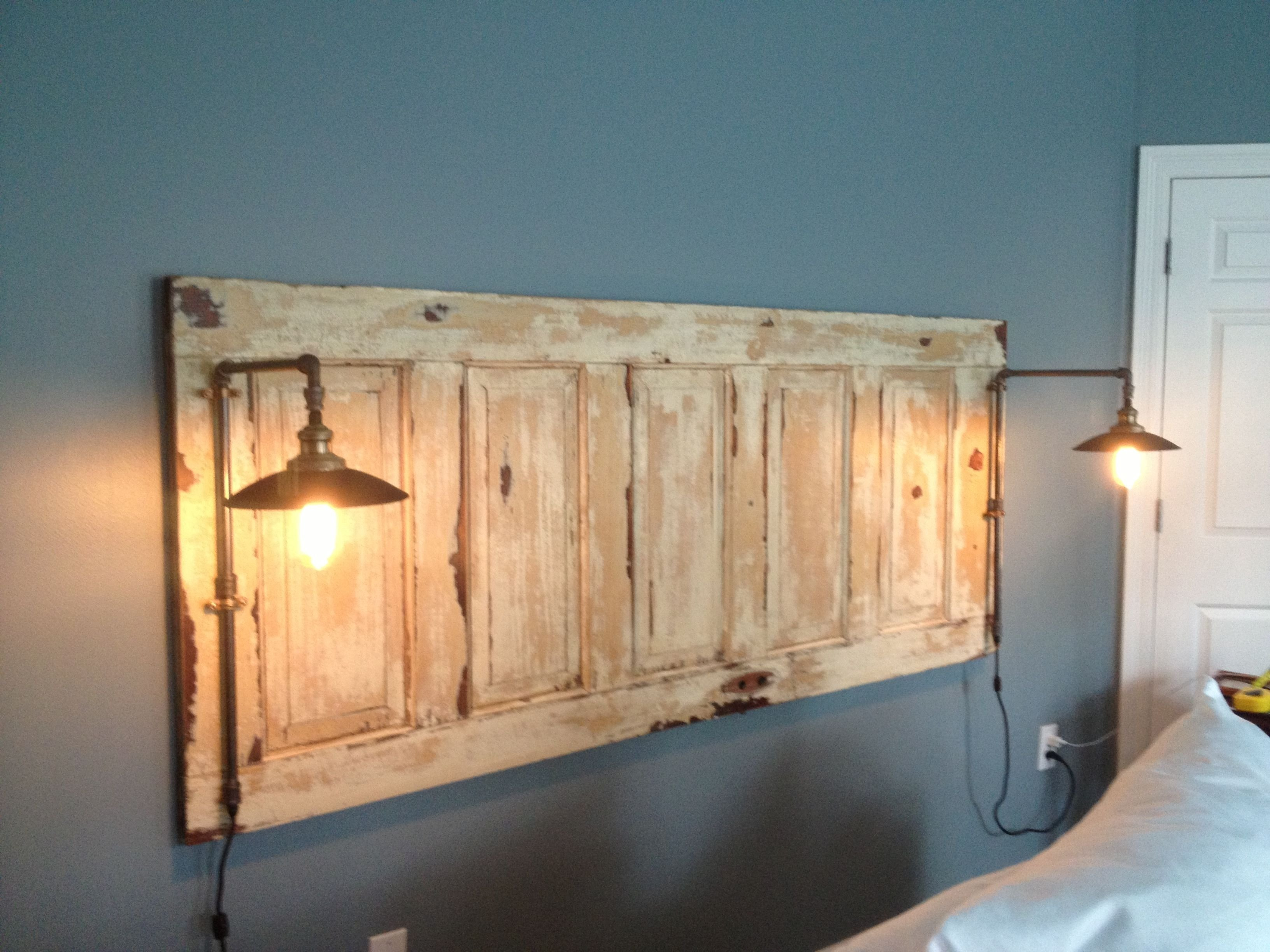 king size natural headboard with lights | headboard | pinterest