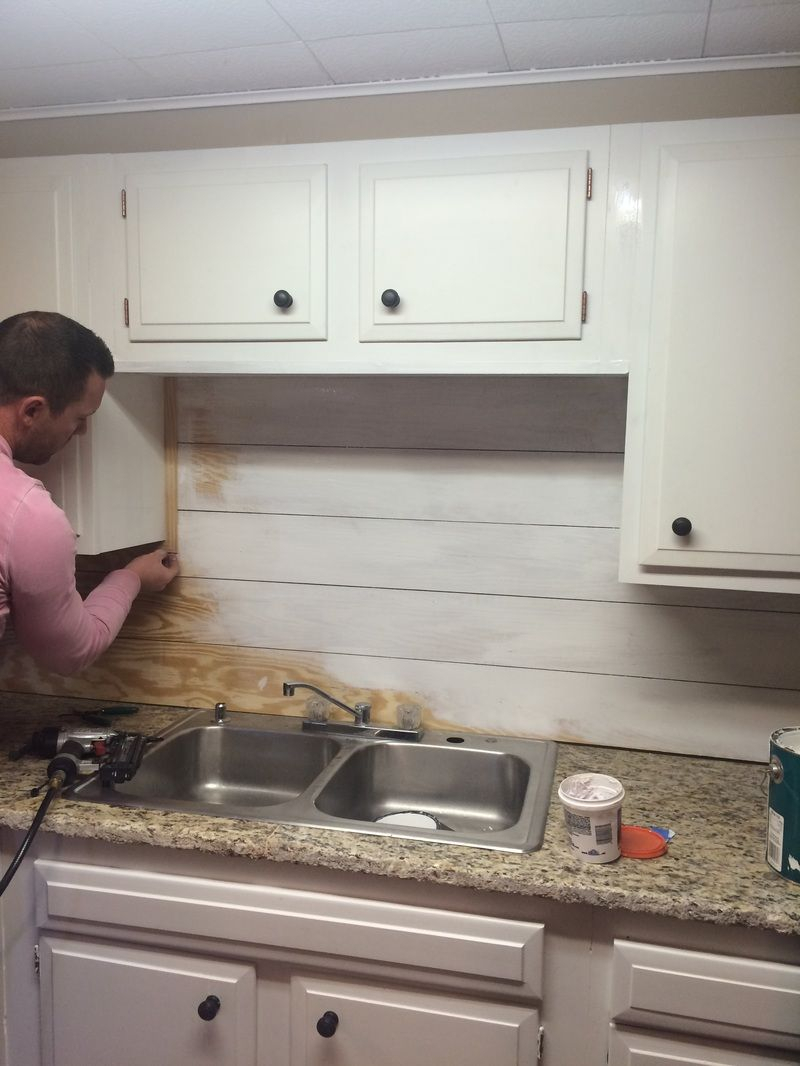 kitchenette shiplap backsplash in 2019 | diy home projects | diy
