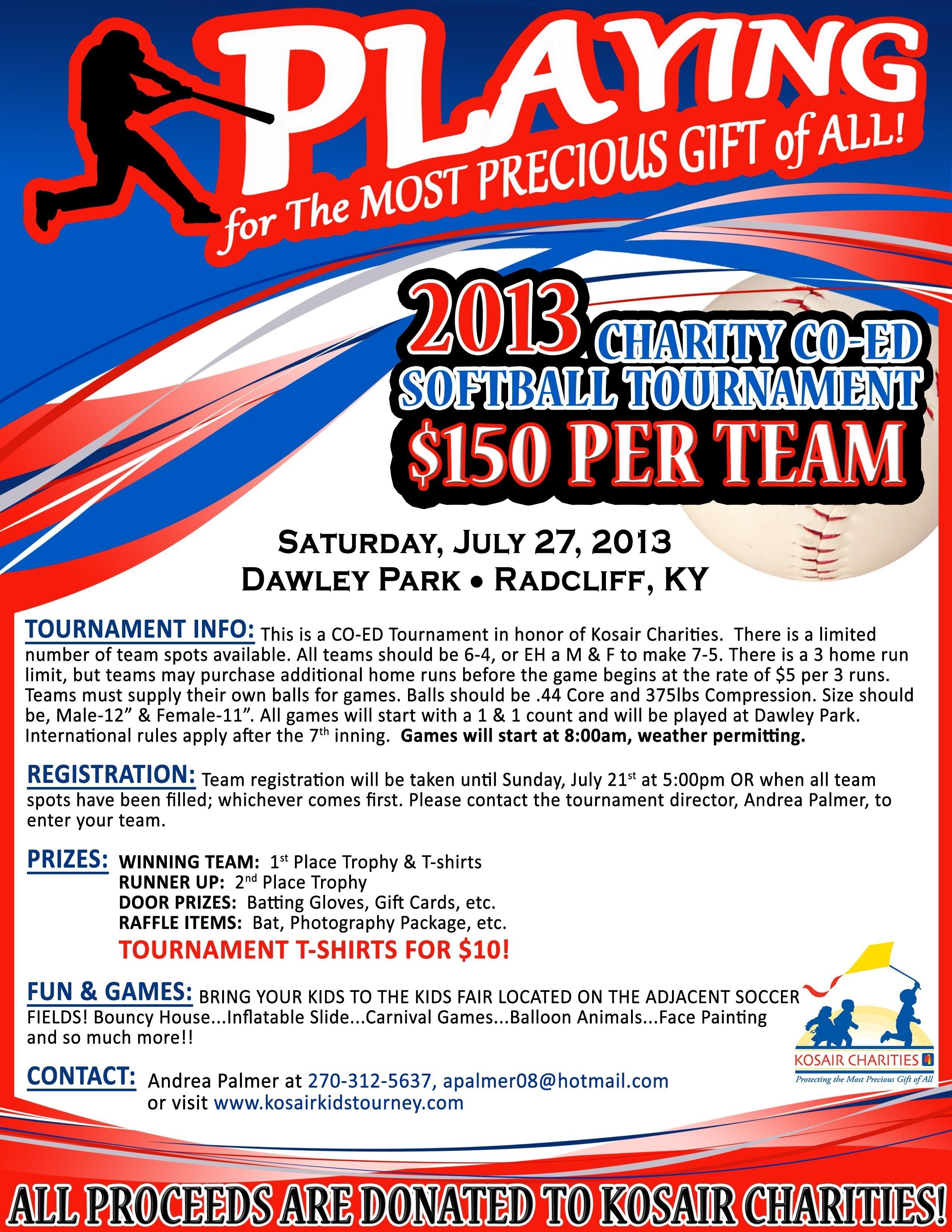 10 Attractive Fundraising Ideas For Softball Teams kosair kids co ed softball tournament july 27 2013 charitable 2020