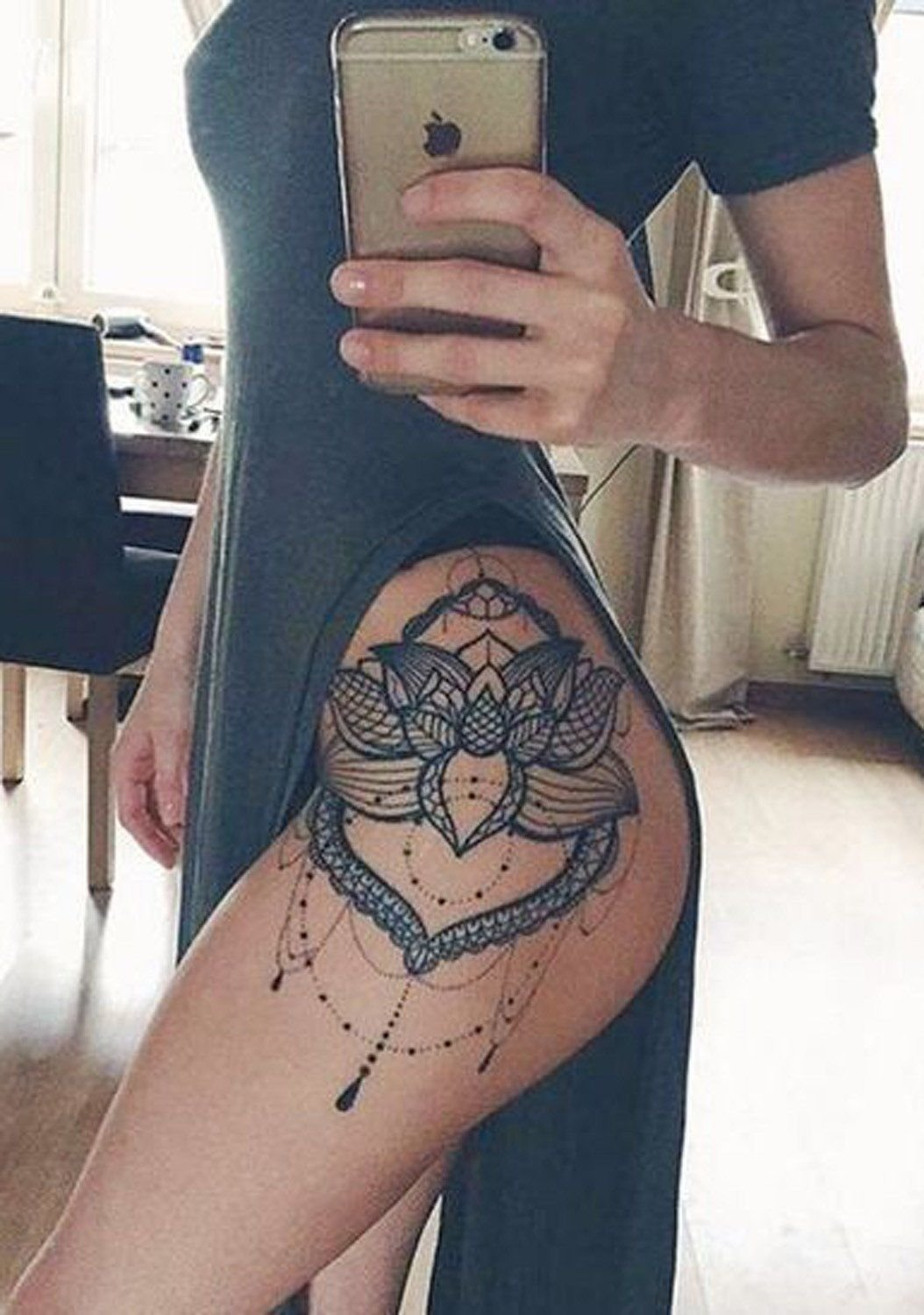 lace lotus flower mandala chandelier hip tattoo placement ideas for