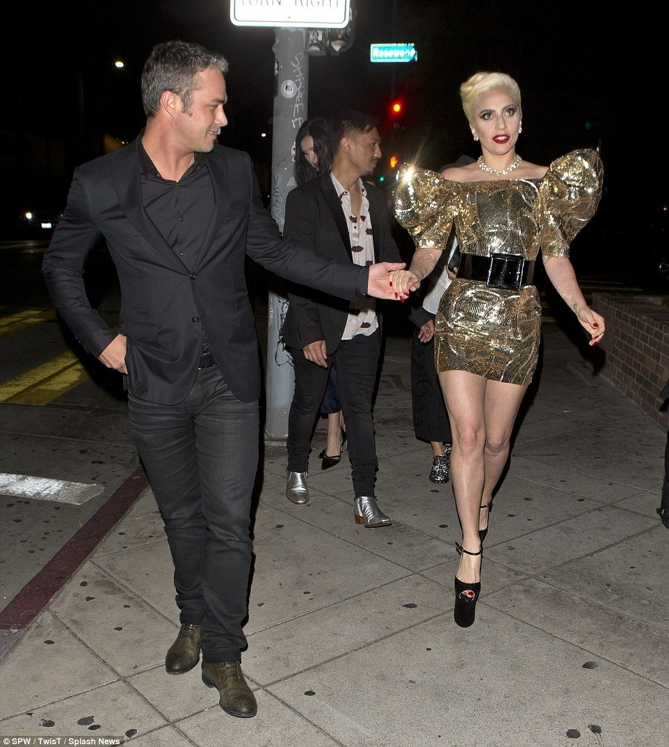 lady gaga dons a metallic mini dress as she celebrates her 30th