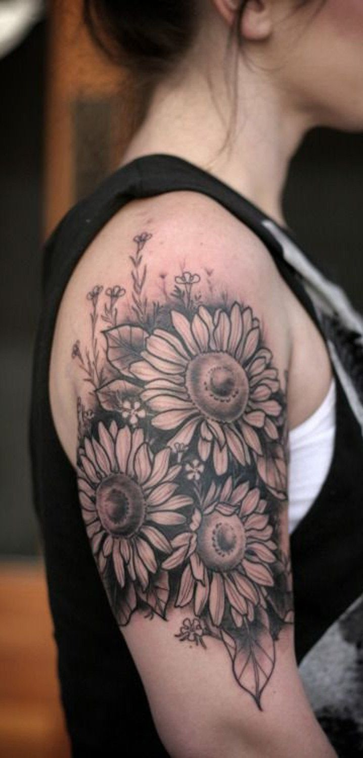 10 Fashionable Tattoo Placement Ideas For Women large traditional floral flower sunflower arm sleeve tattoo 2020
