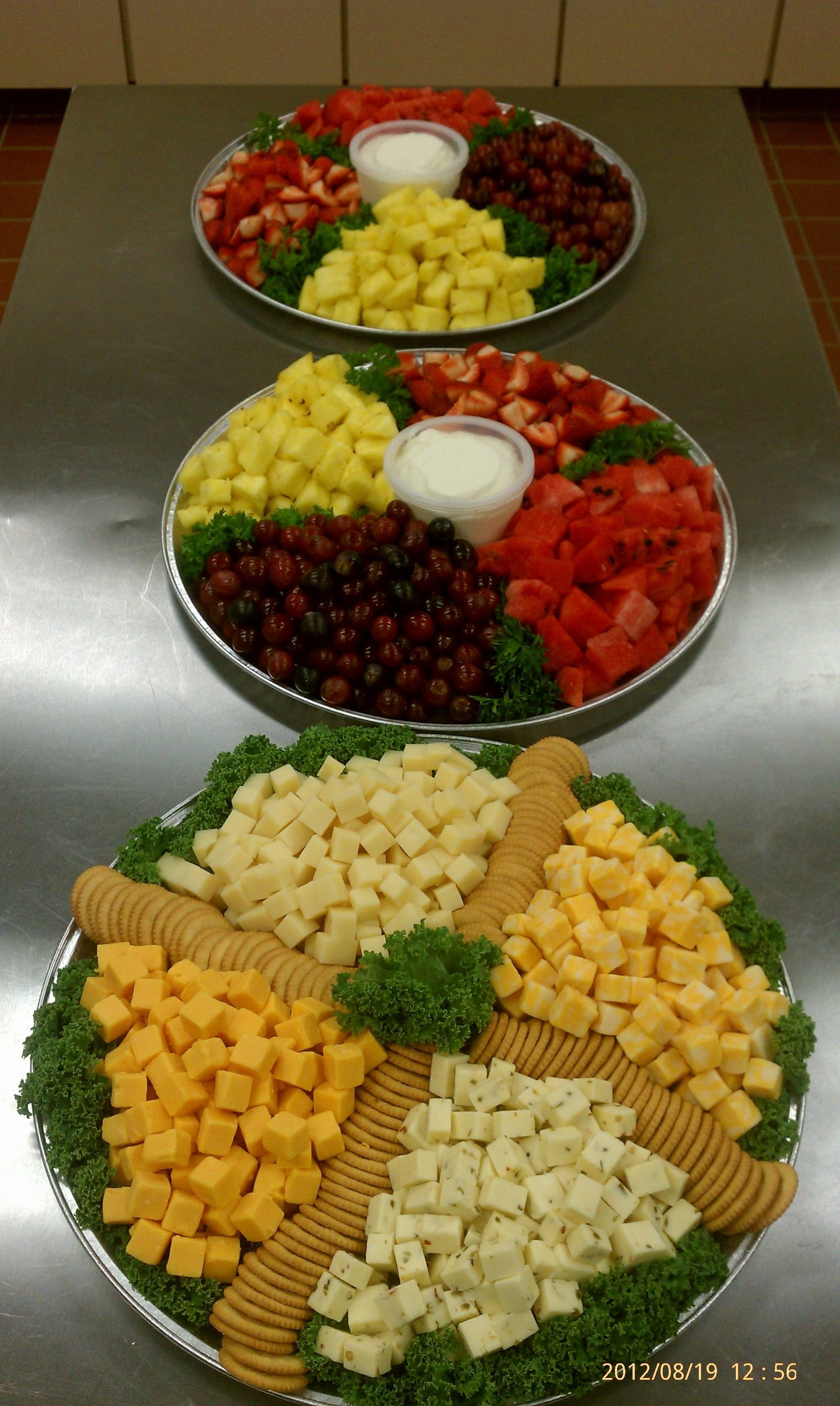 10 Fantastic Cheese And Cracker Tray Ideas large trays with fresh fruit and sweet vanilla dipping sauce large 1