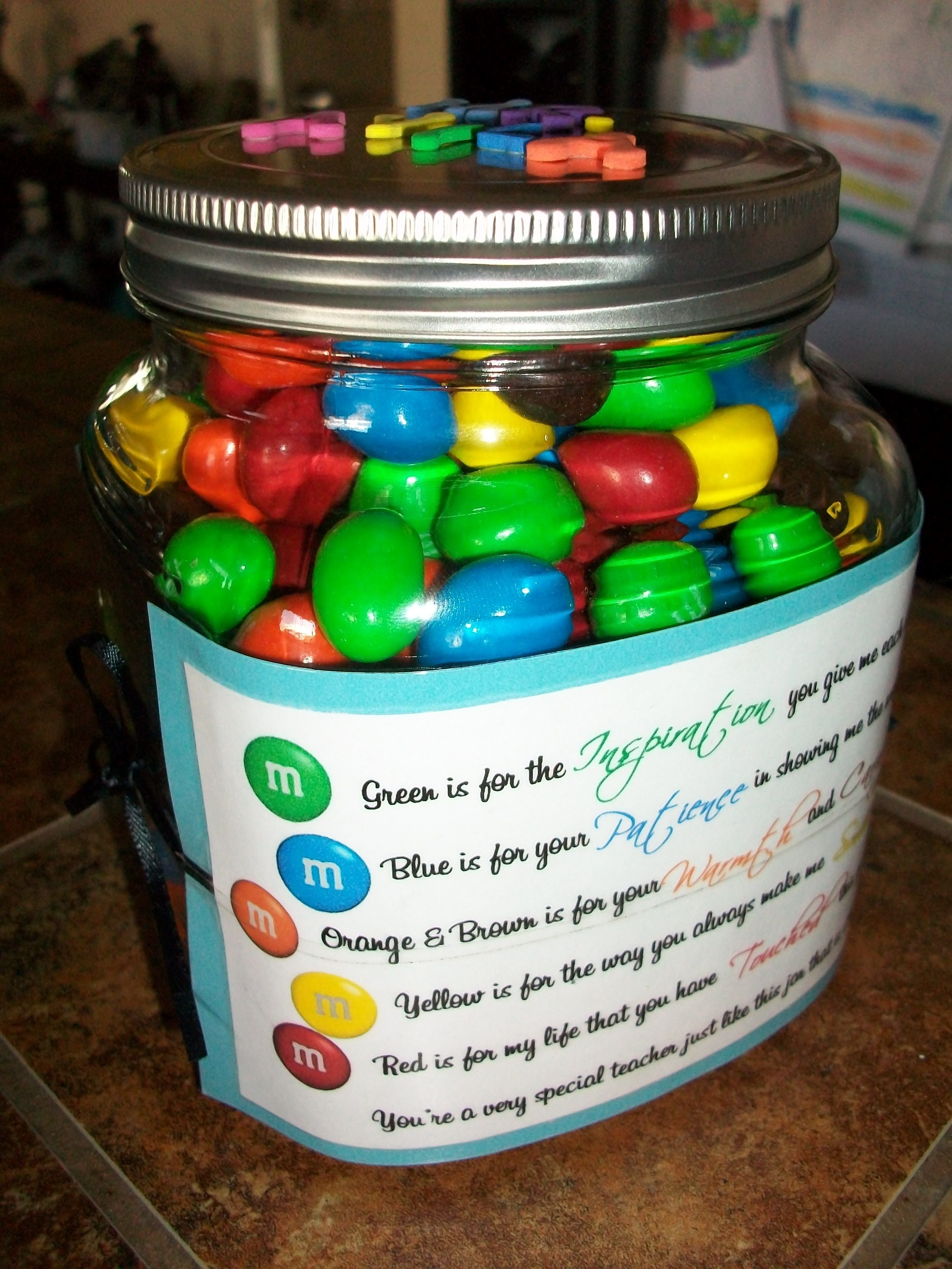 last day of school gift for my son's teacher. bought a jar from