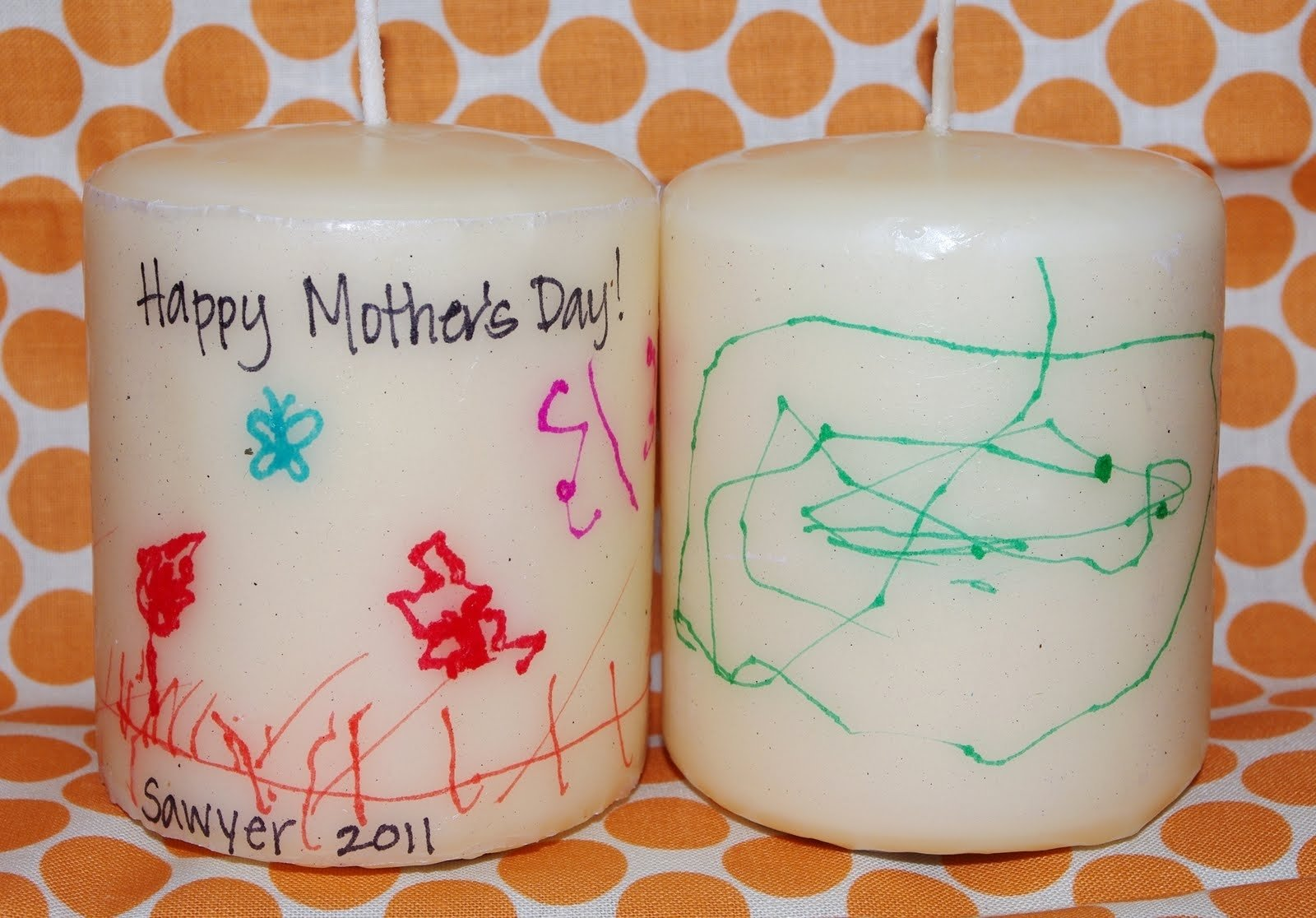 last minute mother's day gift: kids artwork candles - happiness is