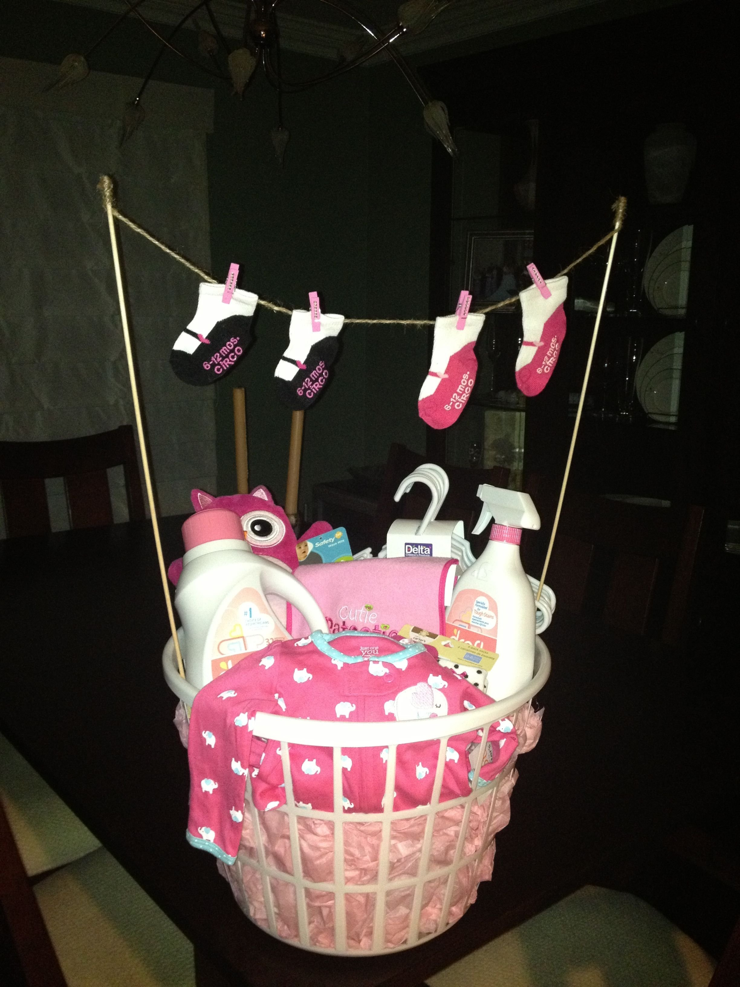 10 Pretty Ideas For A Baby Shower For A Girl laundry basket baby shower gift baby gifts pinterest laundry 2021