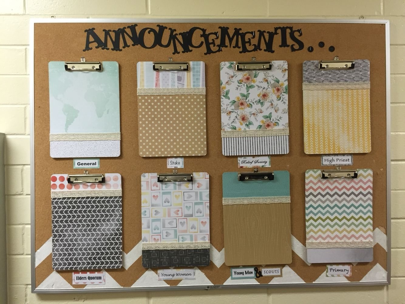 lds church bulletin board. church announcements. neat and organized