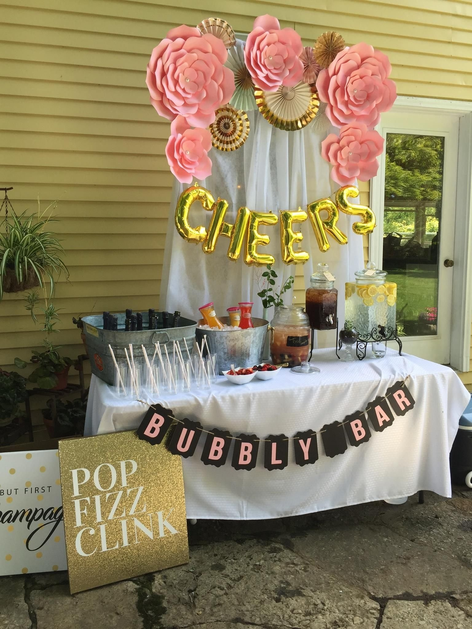 10 Most Recommended Bridal Shower Decoration Ideas Diy lees bridal shower pink and gold mimosa bar with diy paper flowers