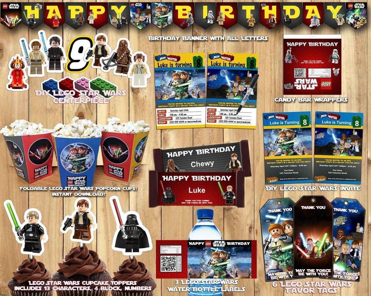 10 Fantastic Lego Star Wars Birthday Party Ideas lego star wars birthday party kit download banner invite cupcake 2021