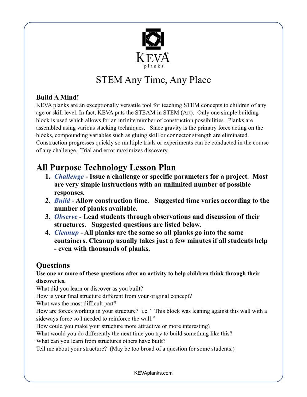 10 Fantastic Lesson Plan Ideas For Elementary lesson plans challenges games activities keva planks