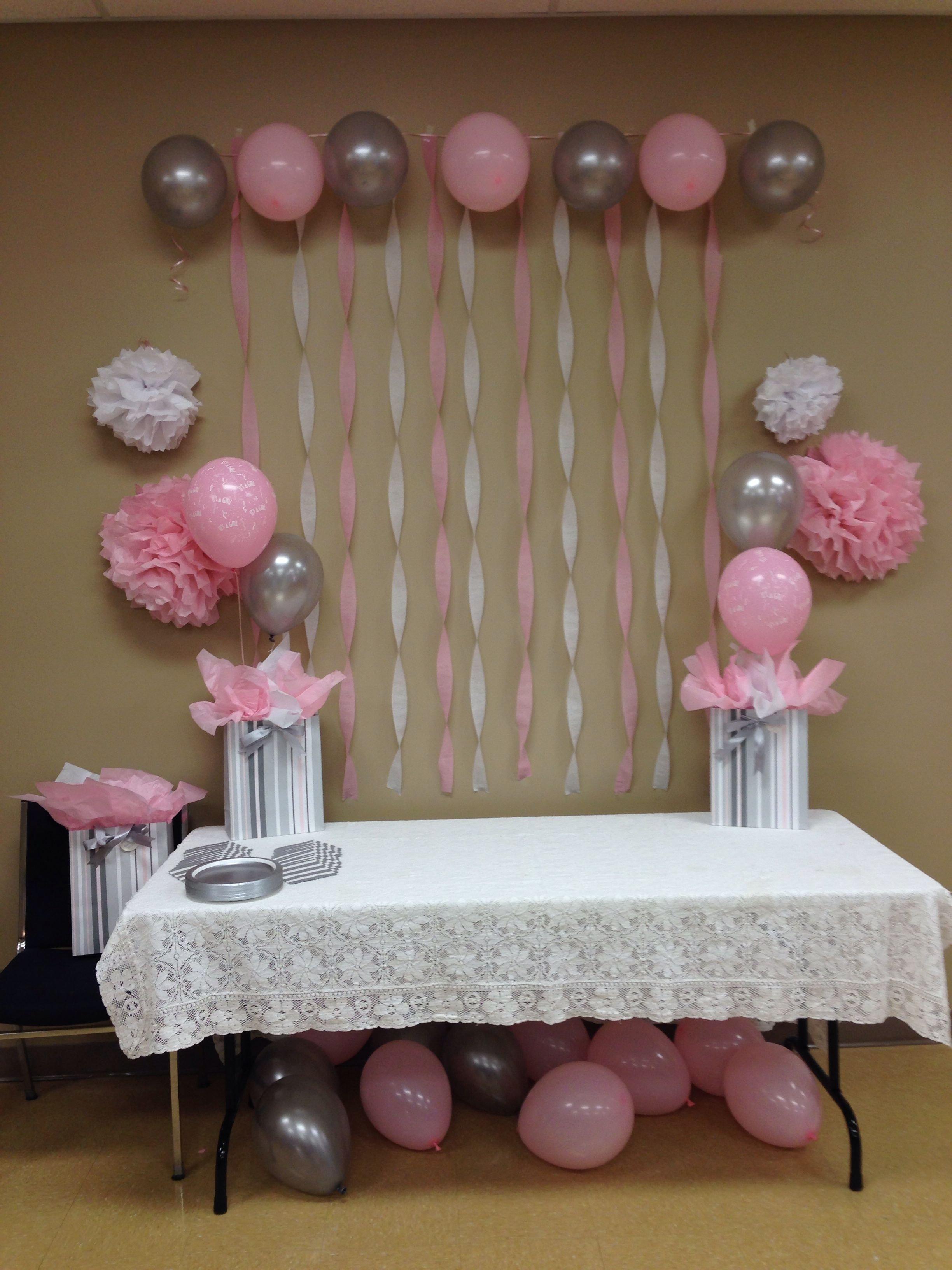10 Fashionable Baby Girl Baby Shower Ideas light pink grey white baby shower baby shower ideas for girls 2020