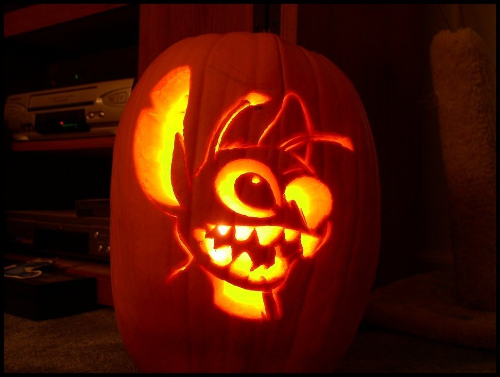 10 Stylish Pumpkin Carving Ideas For Couples lilo and stitch pumpkin carving patterns stitch pumpkin carving 1