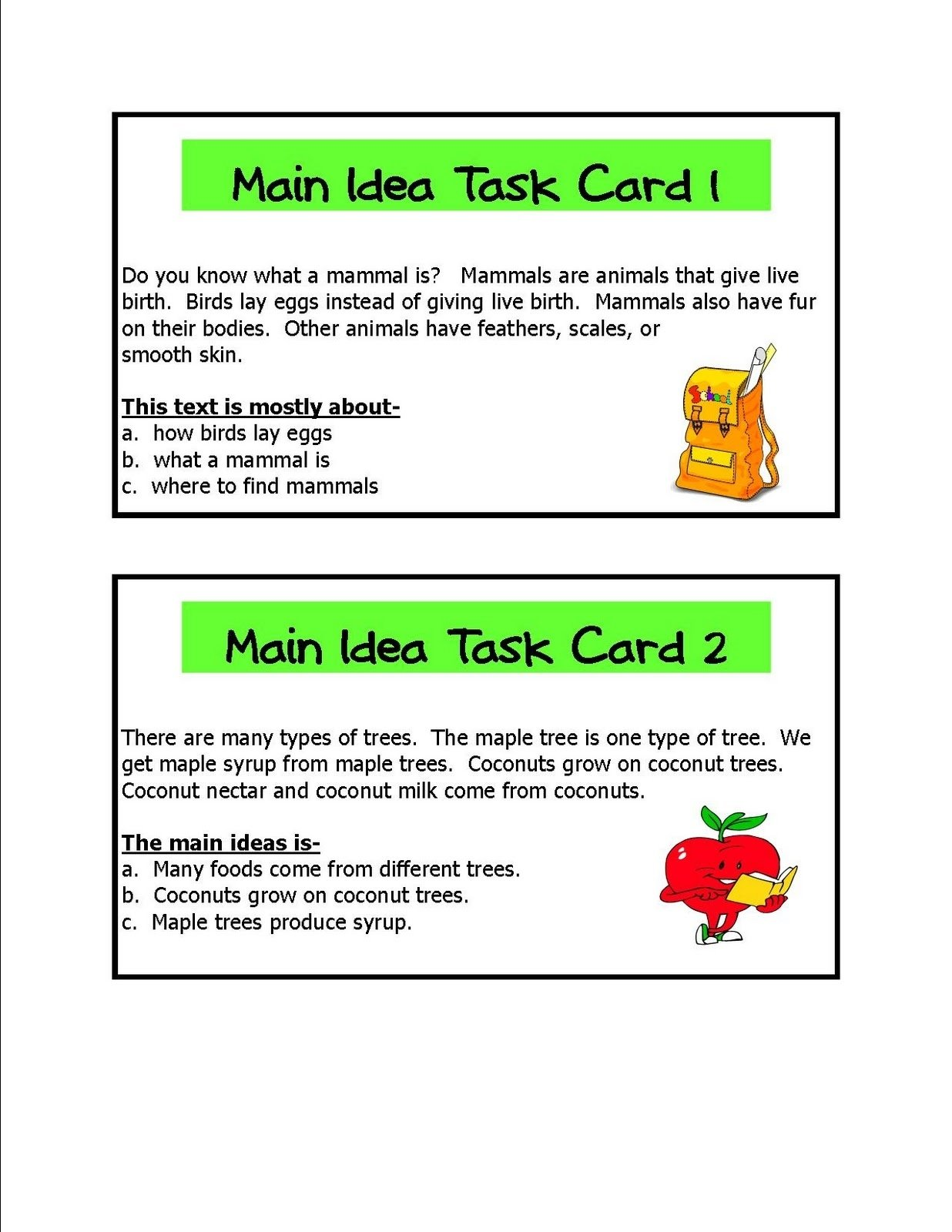 literacy & math ideas: main idea learning centers