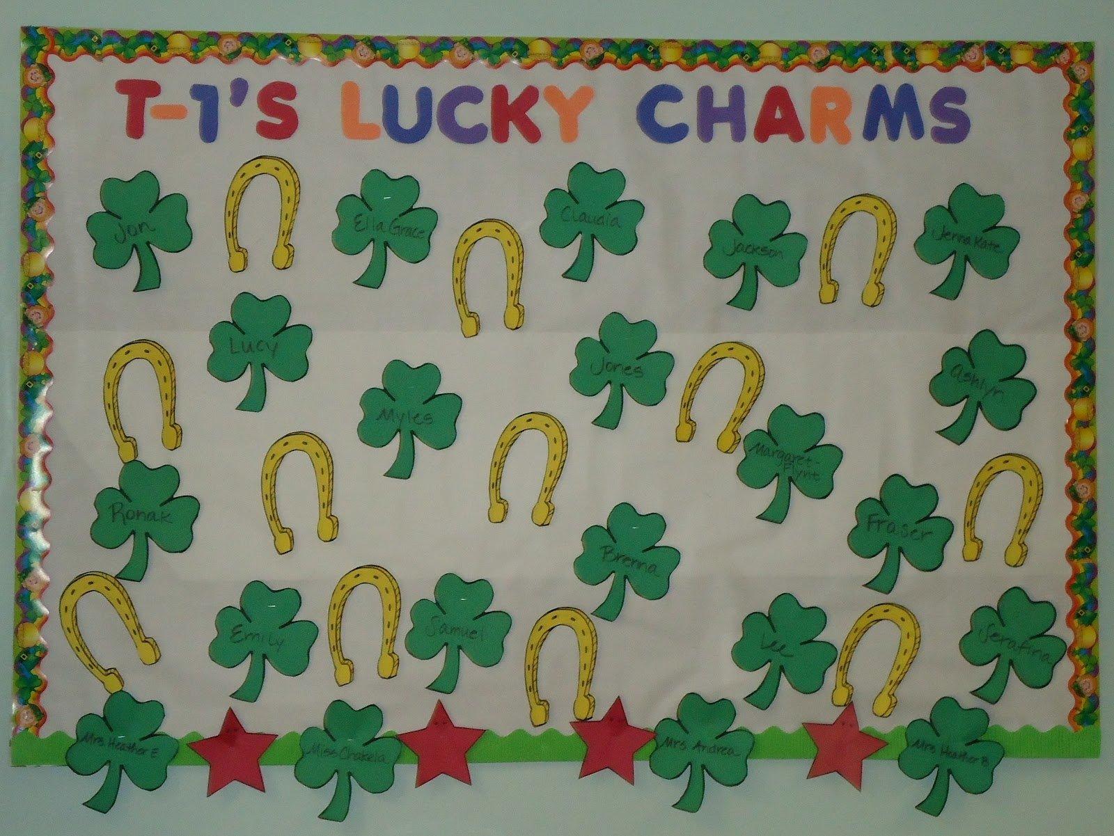 10 Stylish Preschool March Bulletin Board Ideas little illuminations st patricks day bulletin boards 4 2020