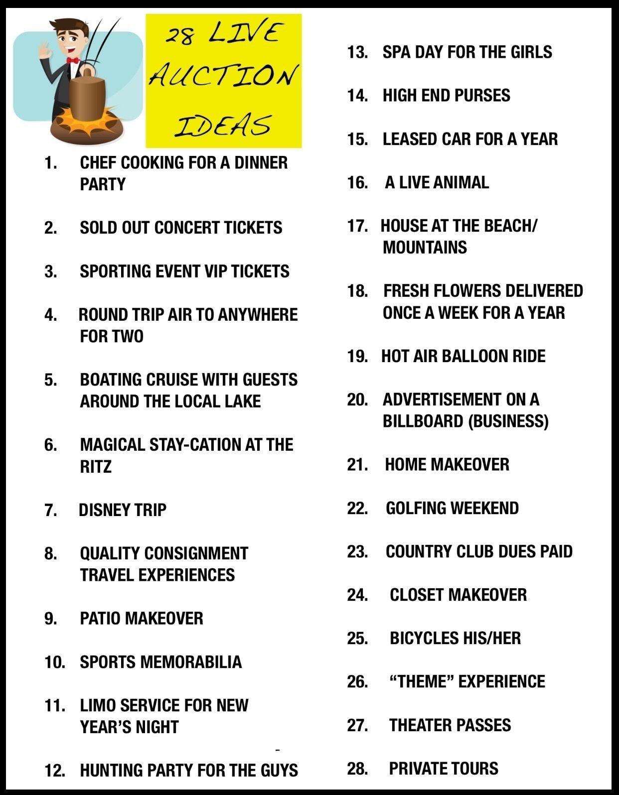 10 Lovable Benefit Ideas To Raise Money live auction ideas for charity events silent auction ideas 1 2020