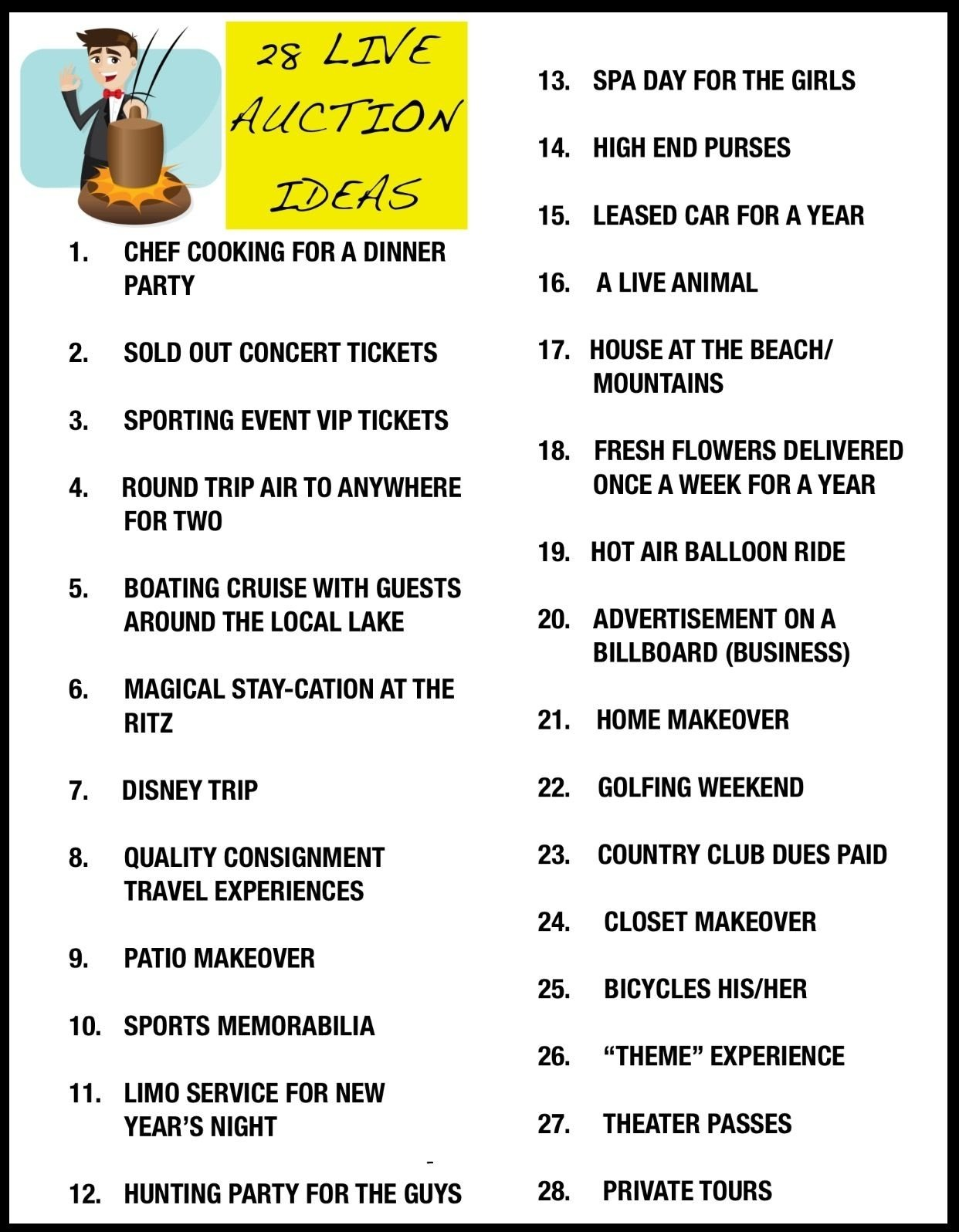 10 Nice Good Fundraising Ideas For School live auction ideas for charity events silent auction ideas 5 2020