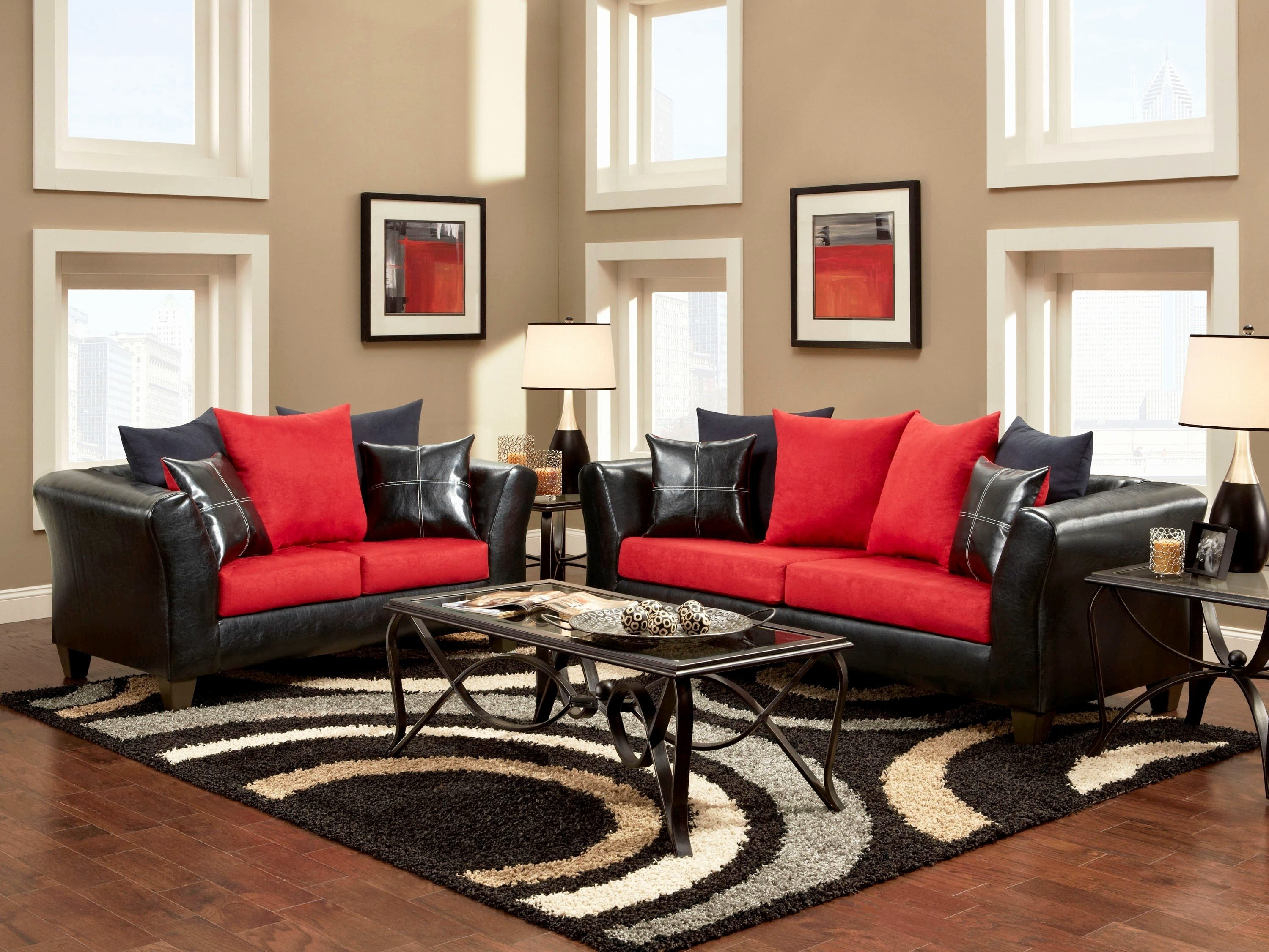 10 Beautiful Red And Black Living Room Ideas living room gray and red living room white couch living room red 2020