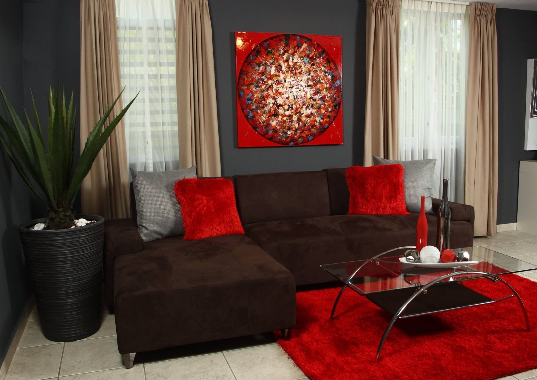 10 Best Red And Brown Living Room Ideas living room with brown sofa living room pinterest red living 2020