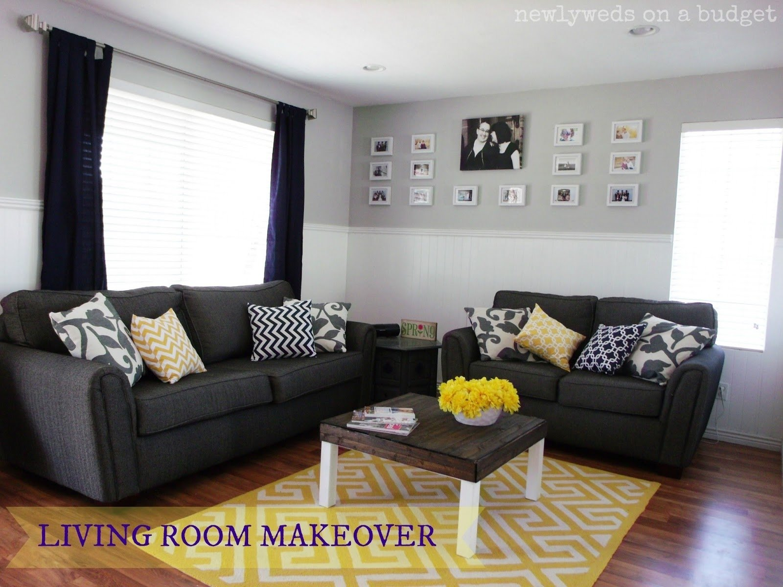 10 Beautiful Grey And Yellow Living Room Ideas livingroom pretty grey living room with yellow accent wall and 1 2020