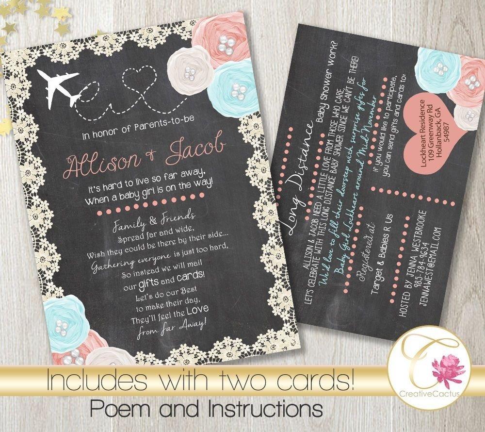 10 Cute Long Distance Baby Shower Ideas long distance baby shower invitations invitation poem impressive 2020