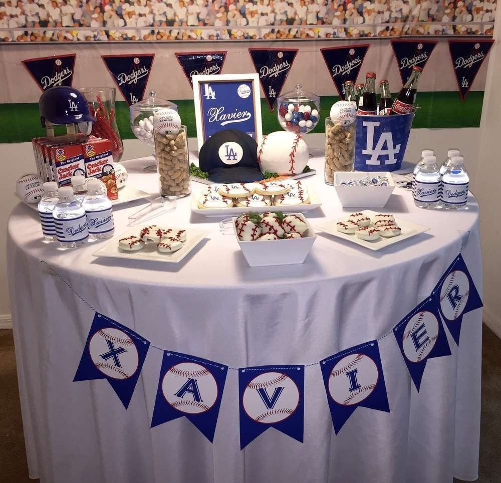 los angeles dodgers birthday party ideas | birthday party tables