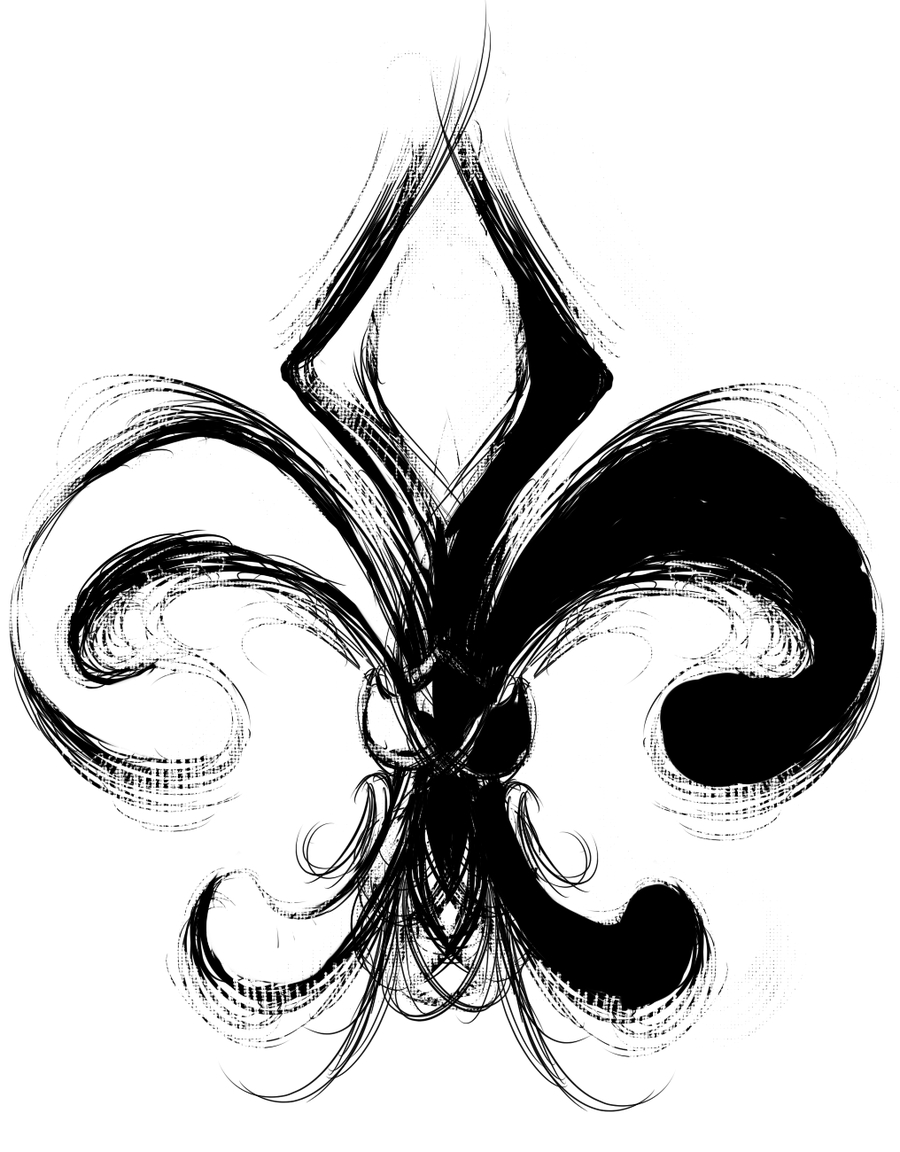 love fleur de lis. this would make a great tattoo. brush strokes and