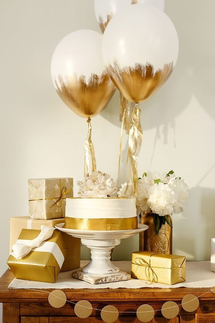10 Unique Golden Birthday Party Ideas For Adults love this combination of white and gold for simple decorations gold 2020