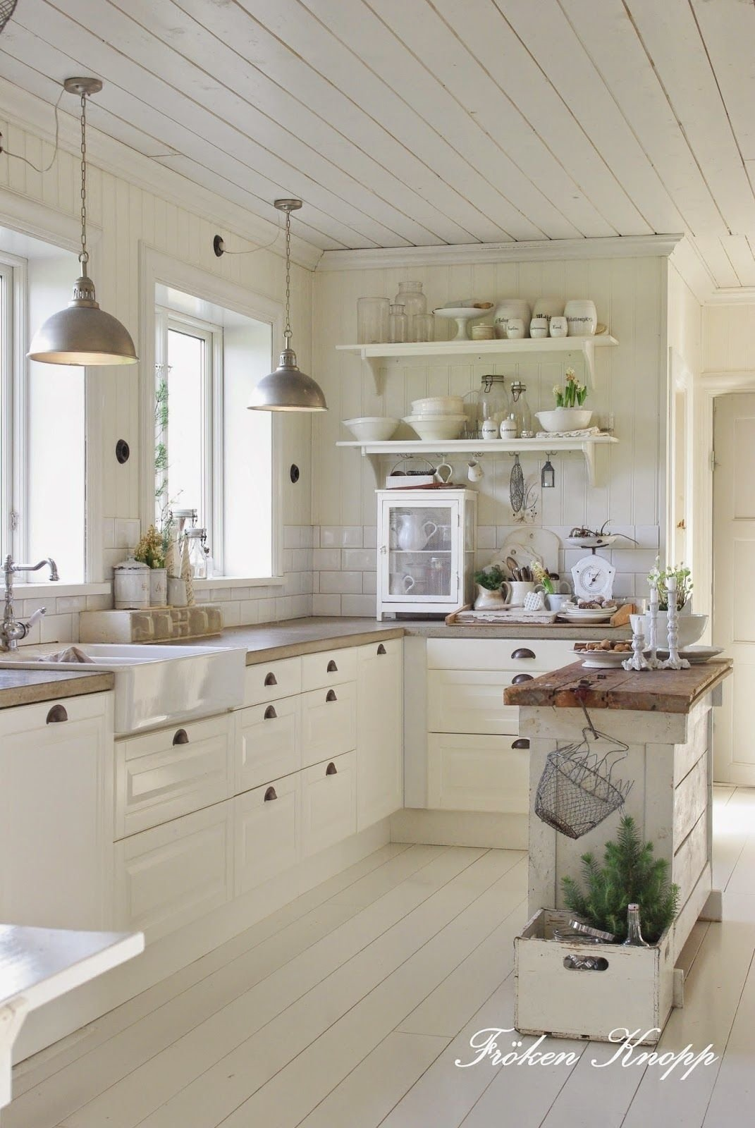 10 Gorgeous Kitchen Ideas With White Cabinets love this entire kitchen farm house sink open shelving white 2020
