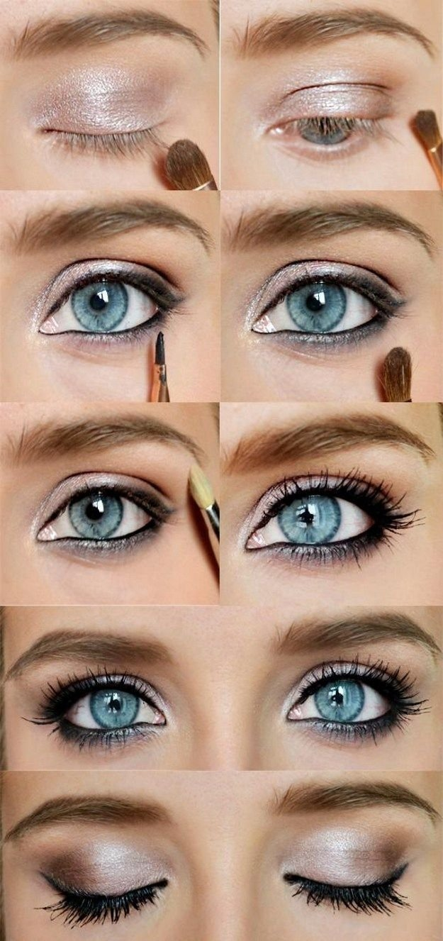 lovely makeup tutorials for blue eyes | gold eyeshadow, blue eyes