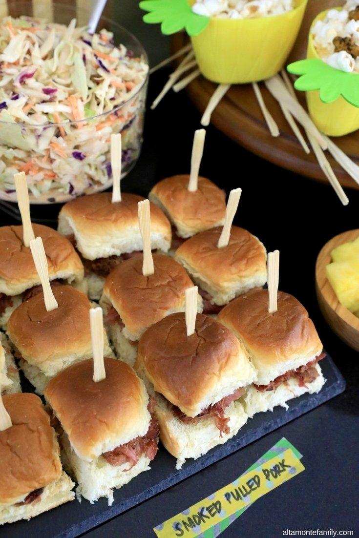 10 Nice Hawaiian Food Ideas For Parties luau party decor ideas homemade pulled pork sliders 2021