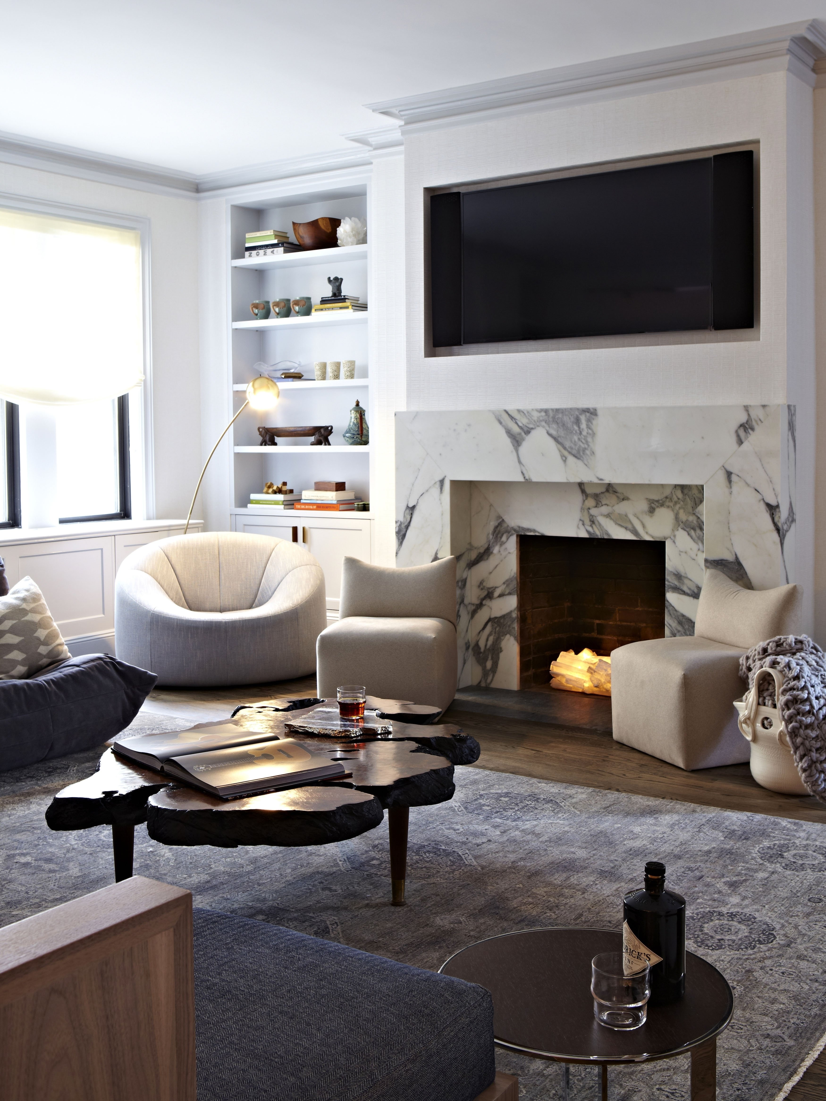 10 Lovely Living Room With Fireplace Ideas luxury living room decoration with recessed tv wall mount above 2020