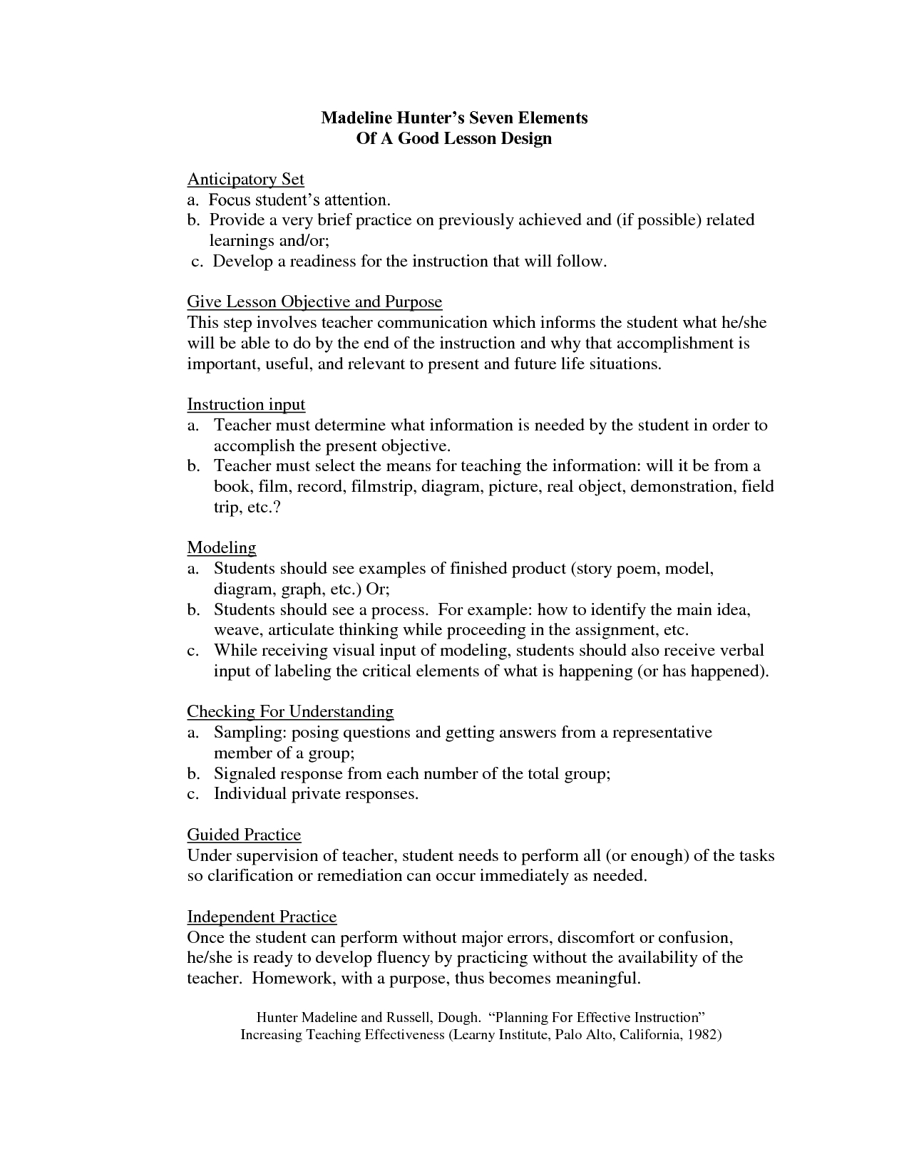 10 Amazing Main Idea Lesson Plans 5Th Grade madeline hunter lesson plan format template google search 5th 2020