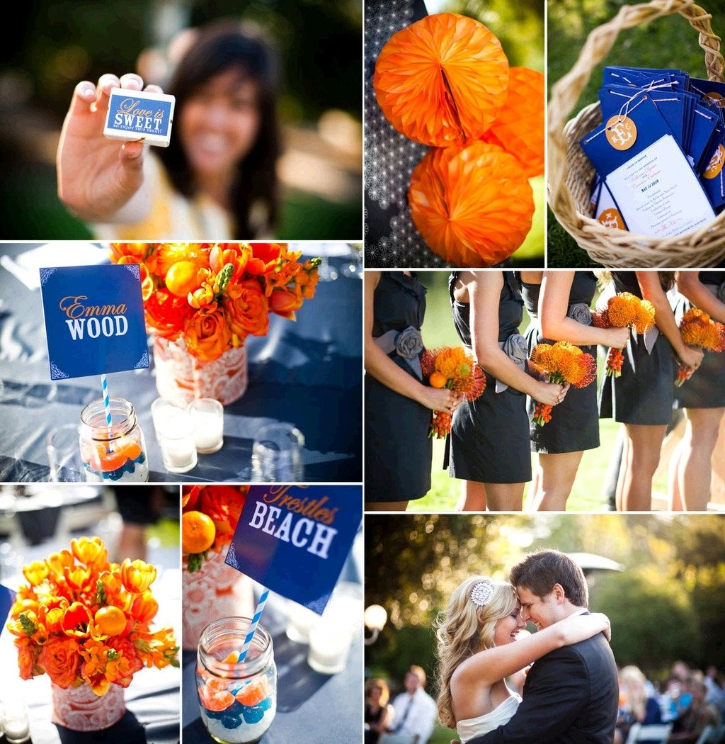 madness wedding ideas orange blue wedding reception decor